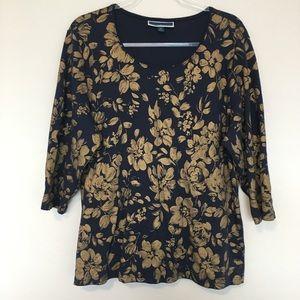 Karen Scott 3/4 length sleeve floral Top Size 2X